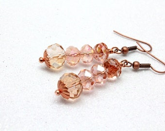 Pink Crystal Earrings, Copper, Chinese Crystal, Dangle Earrings, Valentines Day Gift