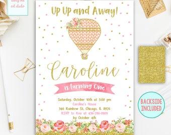 Hot Air Balloon  Invitation, Up Up and Away Birthday Invitations, Hot Air Balloon Invite, Pink and Gold Party Invites, Printable Invitation