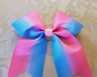 Handmade pink & blue ombre cheer bow
