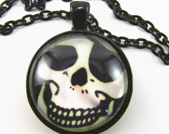 JOLLY ROGER Necklace -- Pirate medallion, Captain Jack Sparrow, Pirate smile and eye patch, Skeleton grin