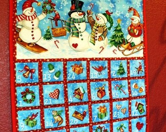 ETSY BIRTHDAY SALE Christmas Advent Calendar - Jolly Snowmen - Free Shipping - Advent Countdown - Wallhanging