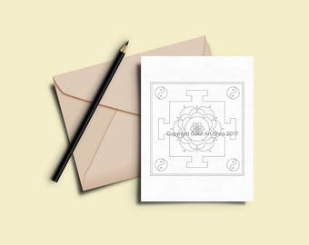 Greeting Cards to Color In - Printable Coloring Card Download -  7 x 5 Card - Original Designs #28