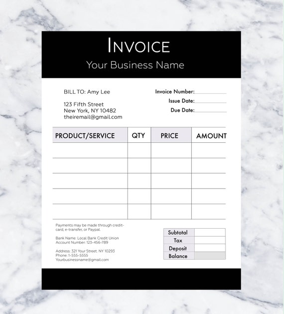 Invoice Template Billing Template Photography Invoice - What is invoice number on receipt online pet store