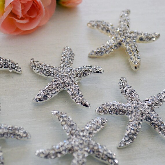 Silver Starfish Rhinestone Buckles for Invitations or Decoration with 11 mm bar
