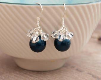 Navy Blue Bridal Earrings - Dark Blue Wedding Earrings - Navy Bridesmaid Earrings - Wedding Jewellery - Jewellery Made By Me - Bridesmaid UK