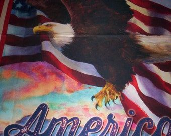 1 Panel Patriots by Geoff Allen for Robert Kaufman Fabrics Bald Eagle USA Flag America the Beautiful