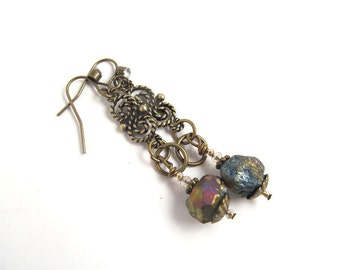 Antiqued Brass Moondust Earrings, Bismuth, Vintage Bronze Earrings, Bohemian Earrings, Brass Filigree, FTD Awareness