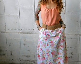 Vintage Pink Floral Sleeveless Long Maxi Eco Dress with Pockets|Scoop Neck|Color Block Dress|Day Dress|Plus Size Dress|Retro Dress|Summer