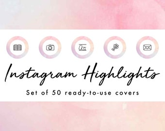 Instagram Story Highlight Icons - 50 Pastel Watercolor Covers | Fashion, Beauty, Lifestyle, Decor, Craft, Handmade, Bloggers, Influencers