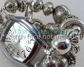 Chunky Silver.. Cute, Silver Plated Interchangeable Beaded Watch Band