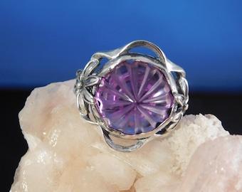 4.92 CT. Round Laser Cut Carved Amethyst Ring Sterling Sliver Floral Setting