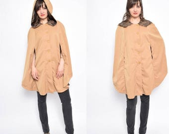 Vintage 70's Hooded Khaki Cape / Buttoned Ligh t Brown Cape /Khaki Zipper Poncho