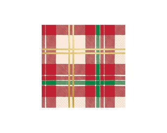 Plaid Napkins - Holiday Napkins, Christmas Plaid Napkins, Gold Foil Christmas Napkins, Holiday Party Decor, Christmas Party, Winter Wedding