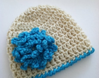 Cream Crochet Baby Hat with Blue Flower, Crochet Baby Hat, Newborn Hat, Baby Hat, Cream Hat, Hat with Flower, Baby Girl Hat, Baptism