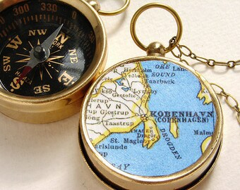 Personalized map necklace, custom Map Compass keychain, Copenhagen Kobenhavn  Map, choose your city map, personalized gift