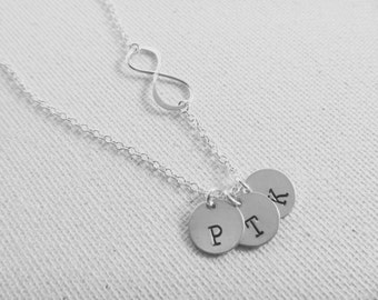 Three Initial Necklace - Infinity Necklace - Kids Initials Necklace - Mom necklace - Family Initials Necklace - Friendship necklace for 3
