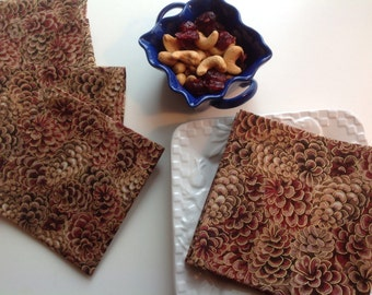 Pinecones, Cocktail Napkins, Brown Appetizer Napkins, Rustic Decor Party Cocktail Napkins - set of 6