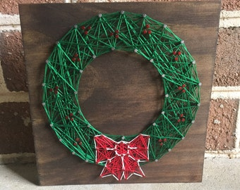 Christmas Wreath, Christmas Decor, Holiday Decor, Winter Decor, String Art Wood Sign