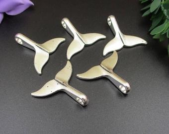 5PCS 29x33mm Big Silver Whale Tail Charms-p1808-B