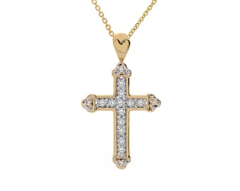 0.50 Carat Pavé Round Diamond Coptic Cross Pendant 14K Yellow Gold