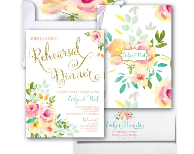 Rehearsal Dinner Invitation // Rehearsal Party // Roses // Peonies // Peony // Rehearsal // Pink //Gold Glitter// Yellow// MALIBU COLLECTION