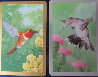 HUMMINGBIRD CARDS (6) Vintage Collectible Swap Cards Kids Arts & Crafts Projects Scrapbooking Mixed Media Free Shipping
