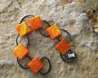 Orange Fused Glass Bracelet, Dichroic Fused Glass Link Bracelet, Orange Sparkle Bracelet