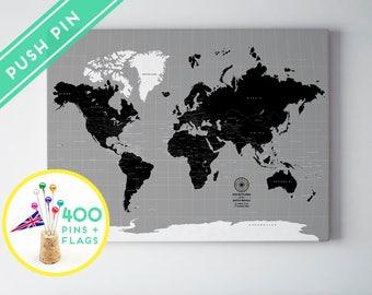 World map push pin etsy custom world map push pin canvas black and gray colors countries capitals usa gumiabroncs Choice Image