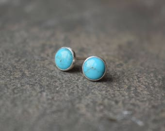 Turquoise Stud Earrings - turquoise studs, turquoise earrings, little round studs, natural turquoise jewelry, blue studs, everyday earrings