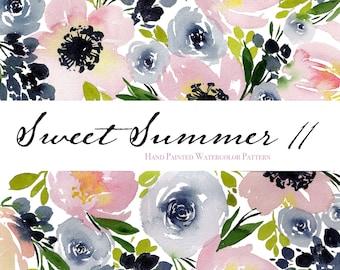 "Sweet Summer 11 - Watercolor Floral Clip Art Pattern - Digital Paper - 10 x 7"" - Hand painted watercolour flowers"