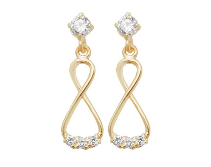 9ct Yellow Cz Gold Infinity 1.5cm Drop Earrings
