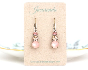 Rose Pink Earrings - Bridal Earrings - Rose Quartz - Wedding Earrings - Drop Earrings - Pink Jewel Earrings - Vintage Glass Earrings
