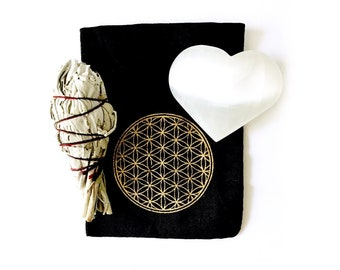 Large Heart Shape Selenite Palm Stone, Smudge Stick and Flower Of Life Printed Drawstring Bag