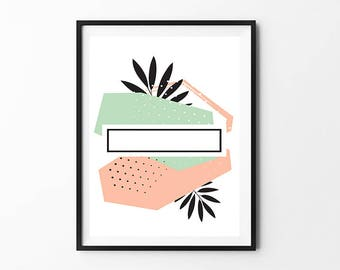 Minimalist abstract art, Geometric print, Mountains print, Nordic design, Pastel colors print, Abstract poster, Triangles print, home decor