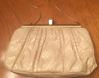 Judith Leiber snakeskin evening bag. Vintage cream purse with gold frame  and gold strap.