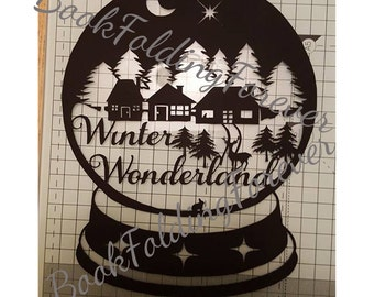 Winter Wonderland Snow Globe Papercut template ~ Commercial use