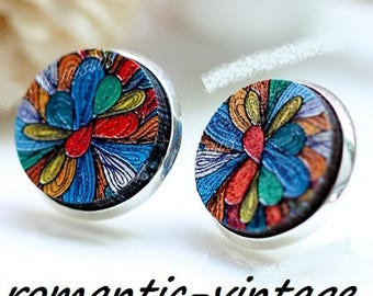 """2 gorgeous wooden painted embossed """"flower psyche"""" cabochons 16mm"""
