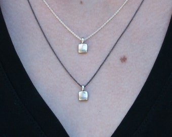 Layering necklace, Small Square Necklace, Tiny Cross, Silver Charms, Gifts for Her, Real Jewelry Design, Bridesmaids Gifts