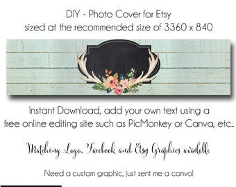 DIY Etsy Cover Photo - Add your own Text, Instant Download, The Allison, New Cover Photo For Etsy, Made to Match Graphics