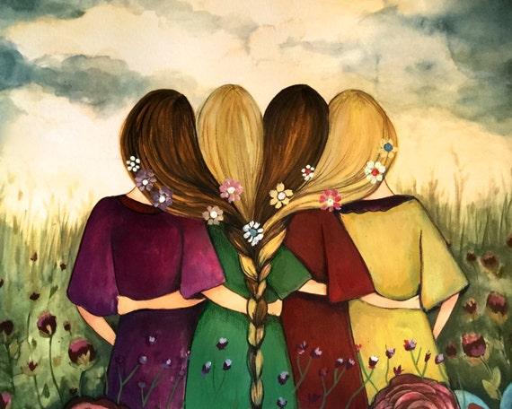 Four sisters best friends brisdemaid present  art print