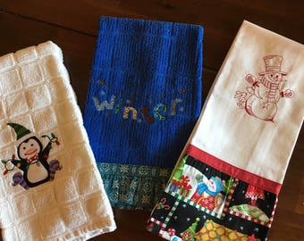 Embroidered set of Christmas/Winter Kitchen Towels
