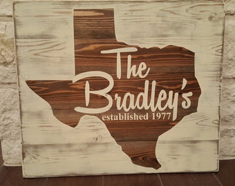 Rustic Stained State Family Name Wood Sign