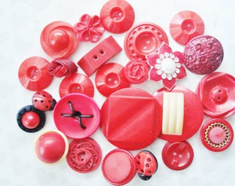Assorted Red Plastic Buttons - Vintage Fancy Red Buttons - 24 Unique Vintage Red Buttons -  Extra Large Red Casein Button - Large Red Button
