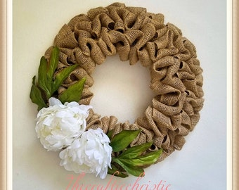 Summer Burlap Wreath-Peony Wreath-Summer Wreath-Rustic Wreath-Front Door Wreath-Everyday Wreath-Burlap Wreath-Wreath for Front Door