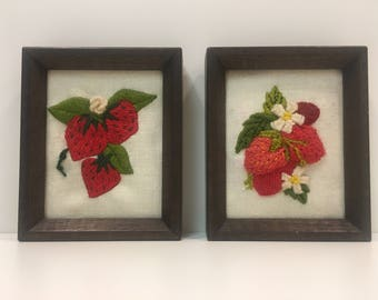 PAIR of 2 framed fiber art strawberries ***FREE SHIPPING***