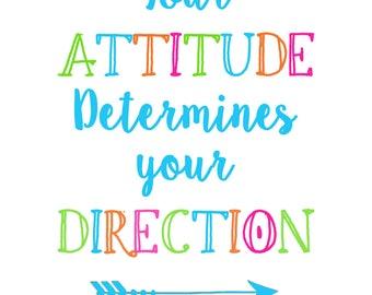 Attitude Wall art, Classroom poster, Quote, Motivational, Bright, Direction, Digital art