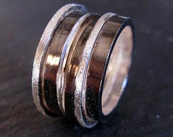 Wide Black Silver Ring Size 6 1/2 Unique Wedding Band Viking Wedding Ring Wedding Ring Unique Mens Wedding Bands Silver Wedding Ring Hot Rox