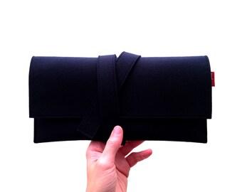 Evening clutch, blue clutch, clutch, evening pochette, blue pochette, blue felt clutch, women gift, girlfriend gift, vegan clutch bag.