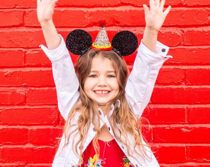 Glittery Mouse Ears Headband | Birthday Ears | Minnie Mouse Birthday | Minnie Mouse Headband | Minnie Ears, Mickey Mouse Birthday | Minnie