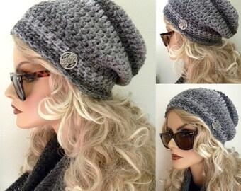 Chapeau gris à rayures, tuque Beanie chapeau, tuque pour femmes, Chunky, accessoires, gris, bonnet crocheté, fait main, bonnet crocheté